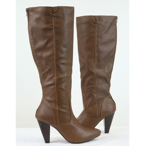 Brown Tall High Heel Below Knee Boots